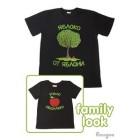 """Комплект футболок """"Яблоко от яблони..."""", черный (мужская+детская)"""
